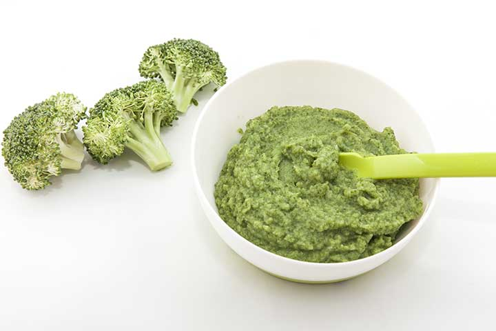 Broccoli and spinach puree