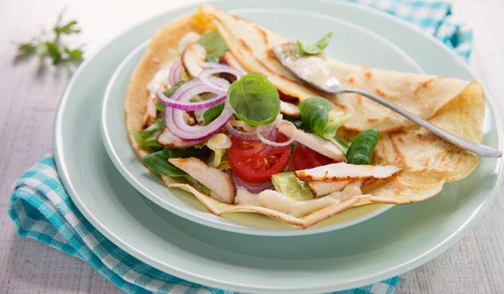 Bread Recipes For Kids - Chicken Flatbread Wraps
