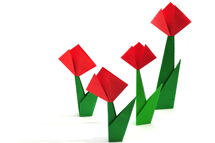 How to make paper flowers for kids easy foldable tulip crafts image mightylinksfo