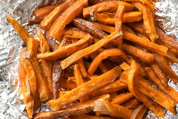 Baked sweet potato sticks