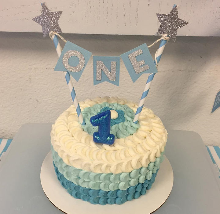 Blue Ombre 1st Birthday Cake