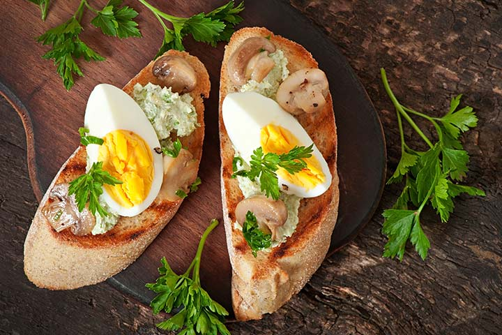 Egg Recipes For Kids - Egg-Mushroom Bruschetta