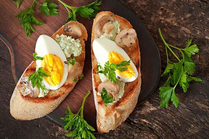 Egg Recipes For Kids - Egg-Mushroom Bruschetta