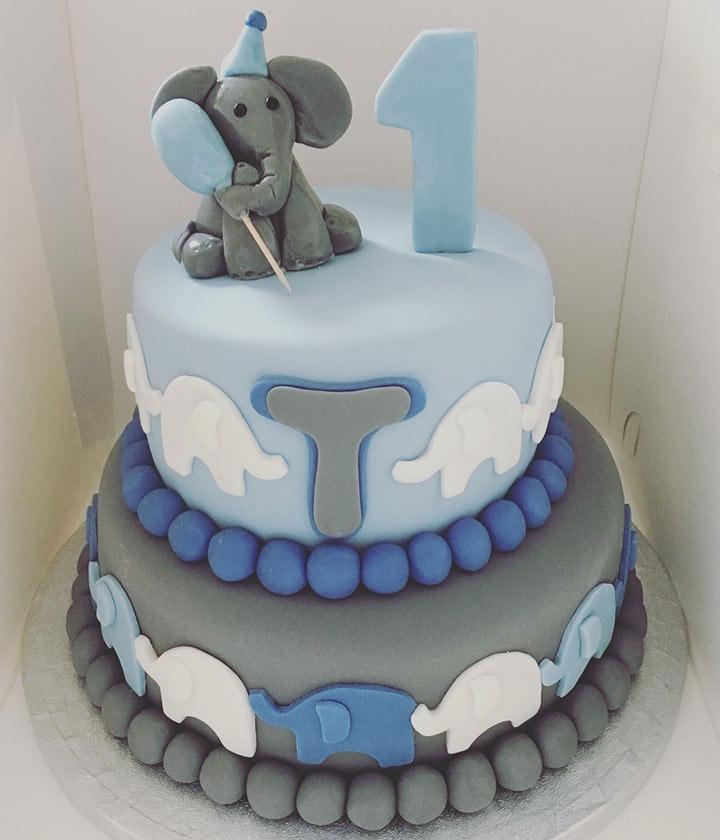 Grey elephant cake