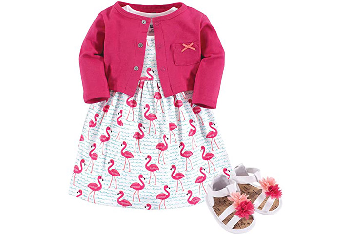 Hudson Baby Girls' Cotton Dress, Cardigan, and Shoe Set