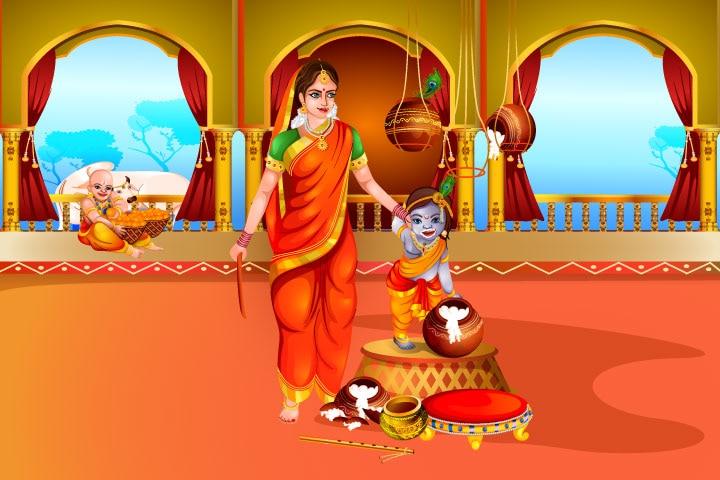 Krishna drags the mortar