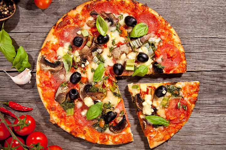Olive and basil pizza