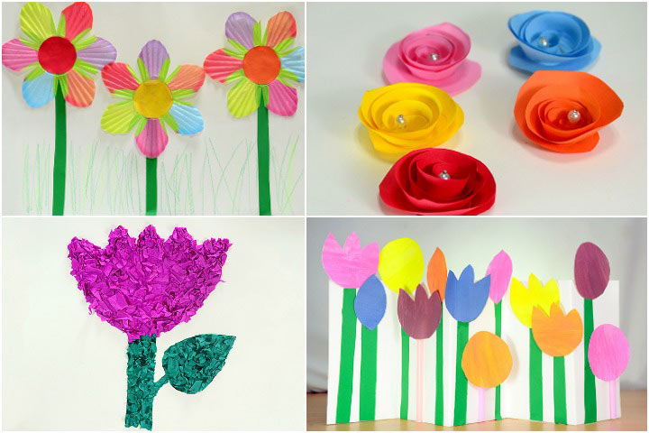 Amazing Craft Flowers For Kids Part - 4: DIY Images Of Paper Flower Making For Kids