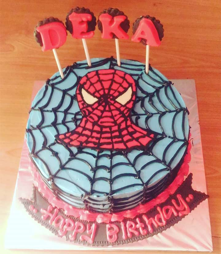 Superhero Spiderman 1st Birthday Cake