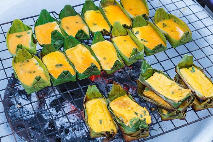 Egg Recipes For Kids - Thai-style Egg Custard In Banana Leaf