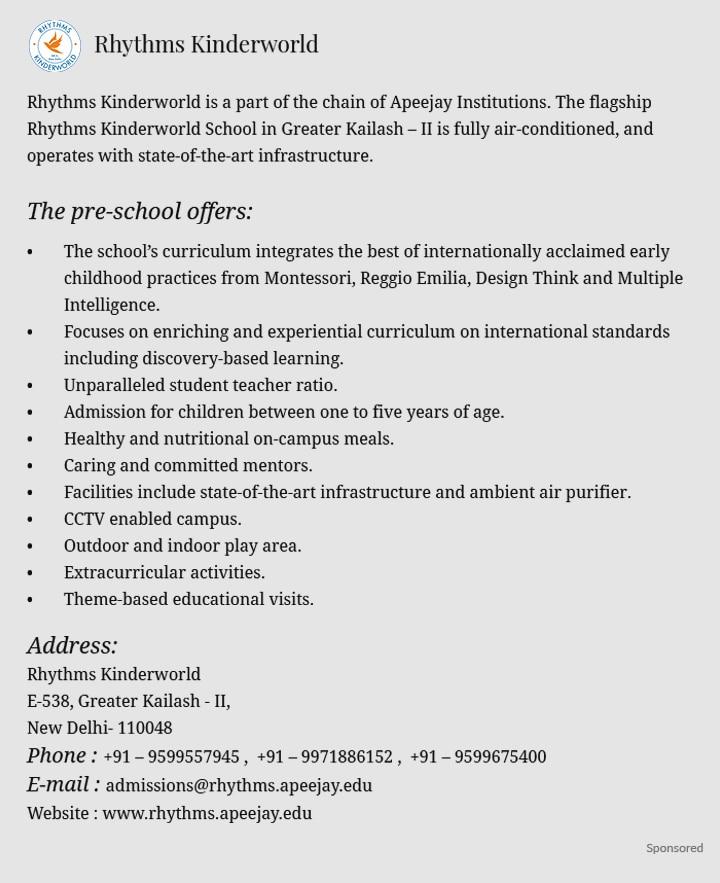 Top 20 Play Schools In Delhi
