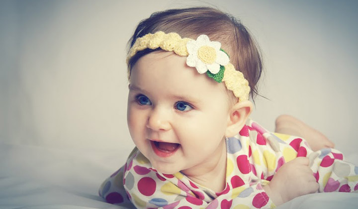 Smiling Picture of Baby Girl Looks Beautiful