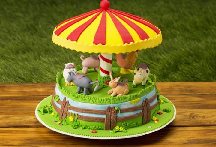 1 Year Old Carousel Birthday Cake