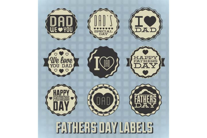 father's day cards with badges and labels