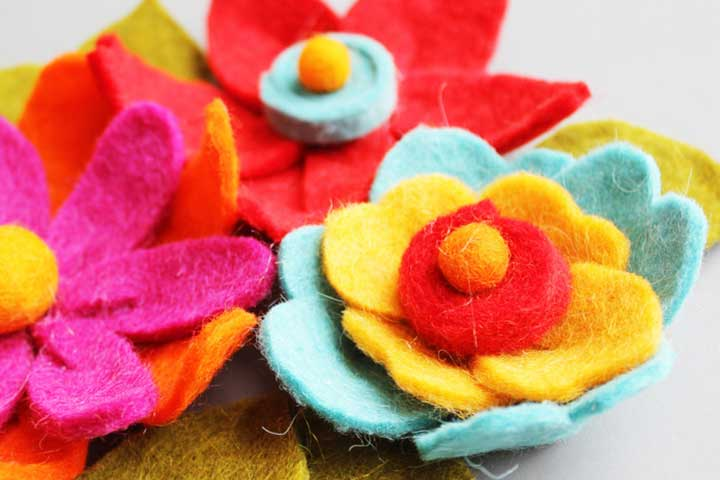 colorful felt flowers