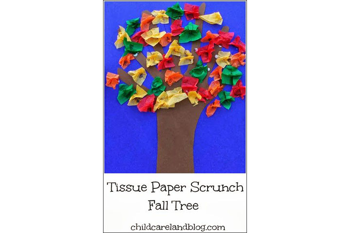 autumn tree made with tissue paper