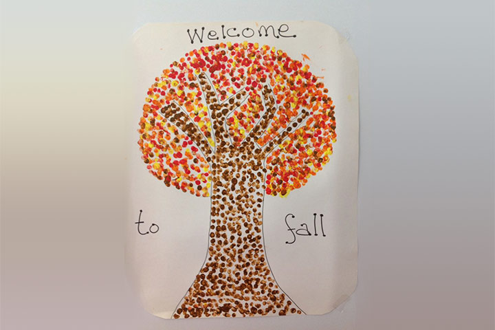 finger painted fall tree