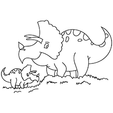 Baby And Mamma Dinosaur Coloring Pages