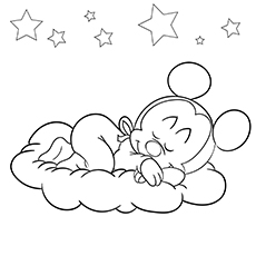 Baby Mickey Sleeping Coloring Images