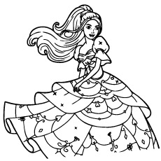 Beautiful Gown of Barbie to Color