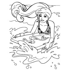 Coloring Page of Barbie Surf On Beach