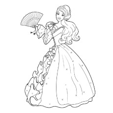 Beautiful Barbie With Chinese Fan in Hand Coloring Pages