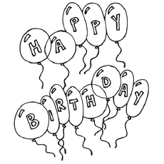 happy birthday balloons coloring pages - Birthday Coloring Pages