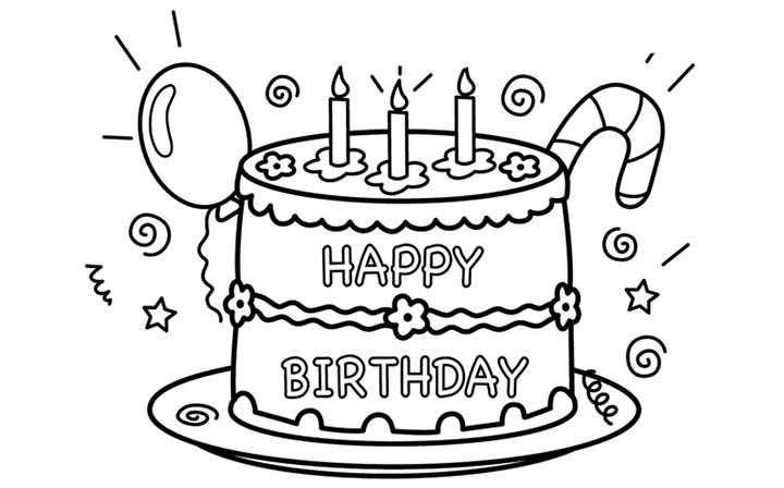 Colouring Pages H Y Birthday : Happy birthday color pages. cake happy birthday party coloring