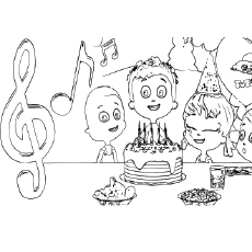 Friends Singing Happy Birthday Song Coloring Pages