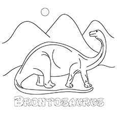 Printable Coloring Pages of Brontosaurus for little ones