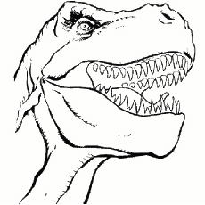 Dangerous Dinosaur Face Coloring Pages