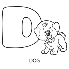 Coloring Sheet of Uppercase Letter D for Dog