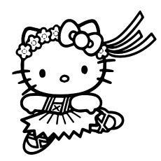 Printable Dancing Hello Kitty Picture to Color
