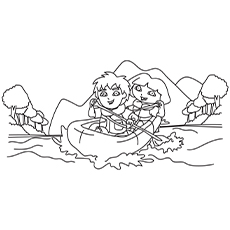 Diego-and-Dora-in-a-Boat best coloring pages