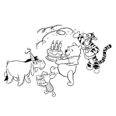 Disney Winnie Pooh Celebrating Birthday with Friends Coloring Pages