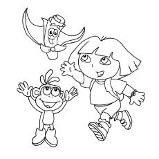 dora boots and map having fun coloring page - Dora The Explorer Pictures To Color And Print