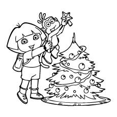 Coloring Page of Dora with her Friends Decorating the Christmas Tree