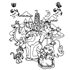 Dora having Party with Friends Coloring Sheet