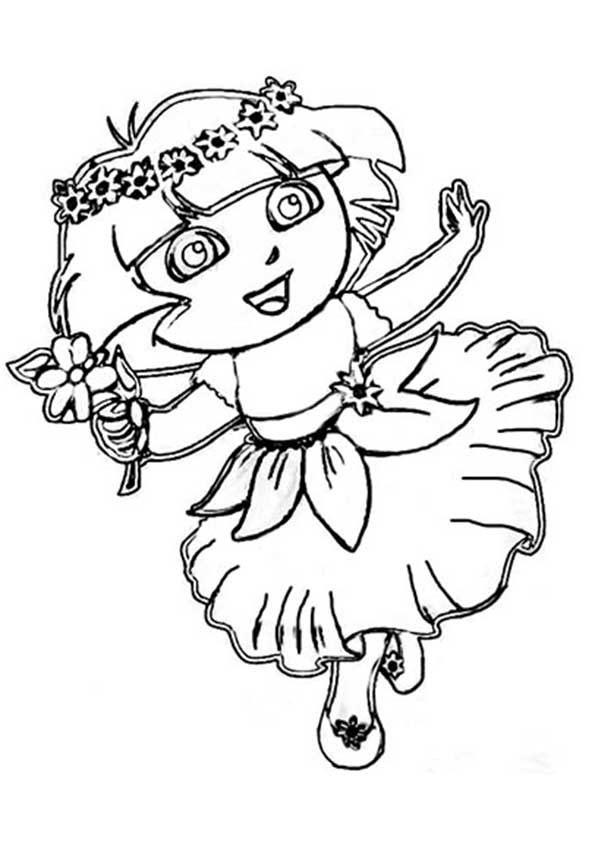 Click to see printable version of Dora the Latino Girl Coloring page