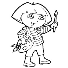 Dora is ready for Painting Picture to Color