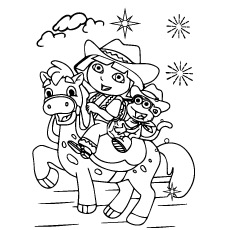 Dora-riding-a-horse-with-monkey
