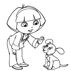 Printale Coloring Page of Dora talking with Dog