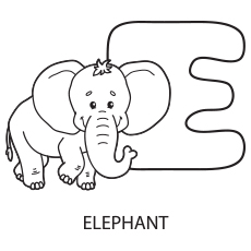 Uppercase Letter E for Elephant Coloring Sheet