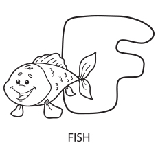 Coloring Page of Alphabet F for Fish