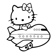 Printable Pictures of Hello Kitty Traveling in Airplane to Color