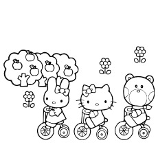 Hello Kitty And Friends Cycling Coloring Pages
