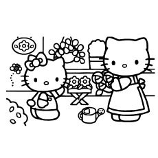Hello Kitty in Nursery Coloring Page to Print