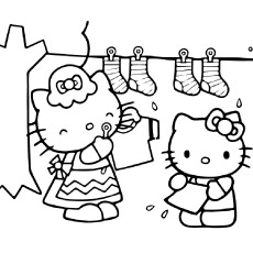 Free Printable Hello Kitty Helping Mom Coloring Pages