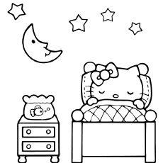 Hello Kitty Is Sleeping Coloring Pages