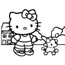 Printable Sheet of Hello Kitty Playing with Dog to Color